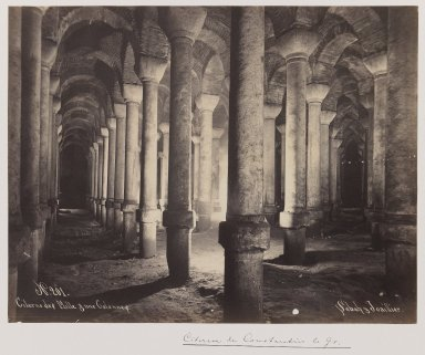 Pascal Sébah (Turkish, 1823-1886). Byzantine Cistern, ca. 1860-1880. Gelatin silver photograph, sheet: height: 12 in. Brooklyn Museum, Purchased with funds given by Dr. and Mrs. Shahrokh Ahkami and an anonymous donor, 1995.86.9