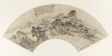 Tang Dai (Chinese, 1673-1754 or later). Autumn Mountains, for Jichang (Chi-ch'ang), 1739. Fan painting, ink and light color on iridescent paper, Fan: 7 7/16 x 22 1/16 in. (18.9 x 56 cm). Brooklyn Museum, Purchased with funds given by the Joseph Hotung Family in memory of Stanley J. Love, 1995.8. Creative Commons-BY