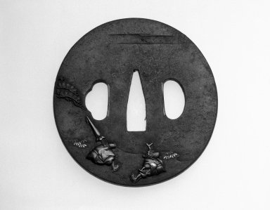 """Nukagawa Yasunori (Japanese). Tsuba (Sword Guard) with the Design of """"Tamagawa"""" Scene from the Tale of Ise, ca. 1800. Iron with gold, silver, copper and iroe, height: 2 3/4 in. Brooklyn Museum, Gift of the J. Aron Charitable Foundation, Inc. in memory of Jack R. Aron, 1995.9.1. Creative Commons-BY"""