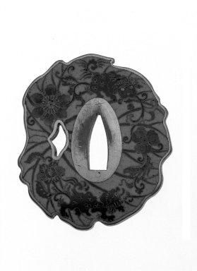 Yurakusai Sekibun. Shonai-Style Tsuba (Sword Guard), ca. 1870-1890. Gilt-metal, copper, enamels, height: 2 5/8 in. Brooklyn Museum, Gift of the J. Aron Charitable Foundation, Inc. in memory of Jack R. Aron, 1995.9.2. Creative Commons-BY