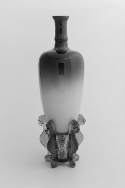 Hobbs, Brockunier & Company (1863-1887). Morgan Vase and Stand, ca. 1886. Glass, 9 7/8 x 3 1/2 x 3 1/2 in. (25.1 x 8.9 x 8.9 cm). Brooklyn Museum, H. Randolph Lever Fund, 1995.93a-b. Creative Commons-BY