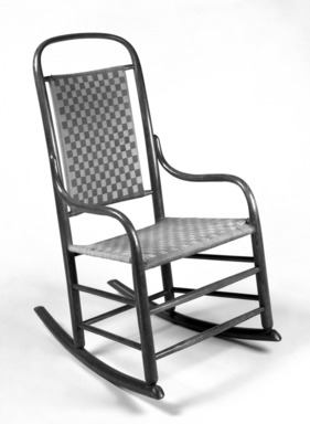 Grove M. Harwood. Rocking Chair, Design Patent February 23, 1875. Wood and original wool blend tape seat and back, 36 7/8 x 20 1/8 x 27 1/2 in.  (93.7 x 51.1 x 69.9 cm). Brooklyn Museum, Maria L. Emmons Fund, 1995.97. Creative Commons-BY