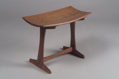 Jere Osgood. Stool, 1966. Tiger maple, 15 3/4 x 20 5/8 x 11 in. (40 x 52.4 x 27.9 cm). Brooklyn Museum, Bequest of Mrs. Carl L. Selden, 1996.142.41. Creative Commons-BY