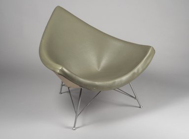 "George Nelson (American, 1908-1986). ""Coconut"" Chair, 1958. Fiberglass, leather, aluminum, 34 1/4 x 40 3/4 x 34 in. (87 x 103.5 x 86.4 cm). Brooklyn Museum, Bequest of Mrs. Carl L. Selden, 1996.142.42. Creative Commons-BY"