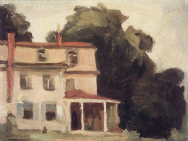 Thomas Pollack Anshutz (American, 1851-1912). House and Tree (The Artist's House), after 1895. Oil on laminated paperboard, 7 7/8 x 10 3/8 in. (20 x 26.4 cm). Brooklyn Museum, Bequest of Mrs. Carl L. Selden, 1996.150.1