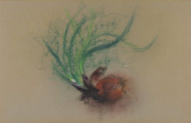 Loren MacIver (American, 1909-1998). Spanish Onions, 1961. Pastel, 12 3/4 x 20 in. (32.4 x 50.8 cm). Brooklyn Museum, Bequest of Mrs. Carl L. Selden, 1996.150.20. © Estate of Loren MacIver, Courtesy Alexandre Gallery, New York