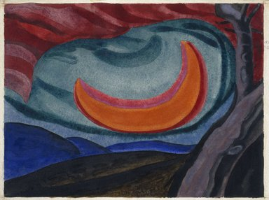 Oscar Florianus Bluemner (American, born Prussia, 1867-1938). Loving Moon, 1927. Watercolor, possibly with a surface coating, on cream, medium weight, slightly textured wove paper mounted to thick black woodpulp board, 9 15/16 x 13 5/16 in. (25.2 x 33.8 cm). Brooklyn Museum, Bequest of Mrs. Carl L. Selden, 1996.150.9