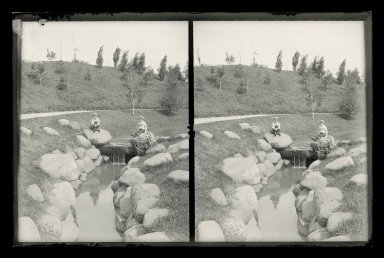 Daniel Berry Austin (American, born 1863, active 1899-1909). Ralph and Marshall near Waterfall and Rocks, Botanical Gardens, Brooklyn, ca. 1899-1909. Gelatin silver glass dry plate negative Brooklyn Museum, Brooklyn Museum/Brooklyn Public Library, Brooklyn Collection, 1996.164.1-132