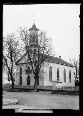 Daniel Berry Austin (American, born 1863, active 1899-1909). Dutch Reformed Church, New Lots Road opposite Schenck Avenue, New Lots, April 26, 1903. Gelatin silver glass dry plate negative Brooklyn Museum, Brooklyn Museum/Brooklyn Public Library, Brooklyn Collection, 1996.164.1-700