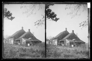 Daniel Berry Austin (American, born 1863, active 1899-1909). John Ryder House, Near View, Foliage, Ryder's Lane and Avenue S, Brooklyn (Oldest Ryder House), ca. 1899-1909. Gelatin silver glass dry plate negative Brooklyn Museum, Brooklyn Museum/Brooklyn Public Library, Brooklyn Collection, 1996.164.1-83