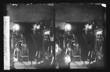 Daniel Berry Austin (American, born 1863, active 1899-1909). Rem Lefferts House, Interior, Fulton Street opposite Arlington Place near Bedford, Brooklyn, ca. 1899-1909. Gelatin silver glass dry plate negative Brooklyn Museum, Brooklyn Museum/Brooklyn Public Library, Brooklyn Collection, 1996.164.1-8