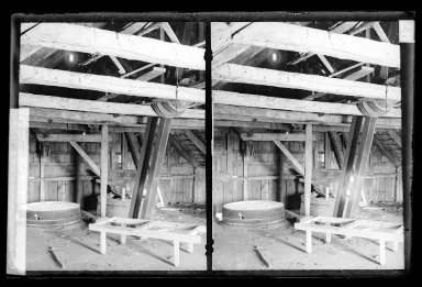 Daniel Berry Austin (American, born 1863, active 1899-1909). Vanderveer Mills Vanderveer Crossings, Interior, Upstairs, Machinery, Canarsie, Brooklyn, ca. 1899-1909. Gelatin silver glass dry plate negative Brooklyn Museum, Brooklyn Museum/Brooklyn Public Library, Brooklyn Collection, 1996.164.1-97