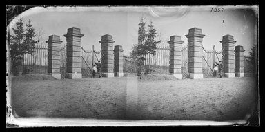 George Bradford Brainerd (American, 1845-1887). Entrance of to Ridgewood Reservoir, Brooklyn, June 23, 1874. Collodion silver glass wet plate negative Brooklyn Museum, Brooklyn Museum/Brooklyn Public Library, Brooklyn Collection, 1996.164.2-1357