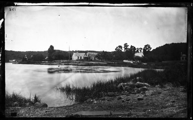 George Bradford Brainerd (American, 1845-1887). Store and Two Churches, Centerport, Long Island, ca. 1872-1887. Collodion silver glass wet plate negative Brooklyn Museum, Brooklyn Museum/Brooklyn Public Library, Brooklyn Collection, 1996.164.2-138