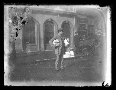 George Bradford Brainerd (American, 1845-1887). Christmas Letter Carrier, Brooklyn, ca. 1872-1887. Collodion silver glass wet plate negative Brooklyn Museum, Brooklyn Museum/Brooklyn Public Library, Brooklyn Collection, 1996.164.2-1592