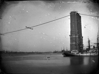 George Bradford Brainerd (American, 1845-1887). Construction of Brooklyn Bridge, ca. 1872-1887. Glass plate negative, 3 1/4 x 4 1/4 in. (8.3 x 10.8 cm). Brooklyn Museum, Brooklyn Museum/Brooklyn Public Library, Brooklyn Collection, 1996.164.2-1614