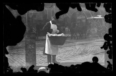 George Bradford Brainerd (American, 1845-1887). Candy Man, Fulton Street, Brooklyn, ca. 1872-1887. Collodion silver glass wet plate negative Brooklyn Museum, Brooklyn Museum/Brooklyn Public Library, Brooklyn Collection, 1996.164.2-1736