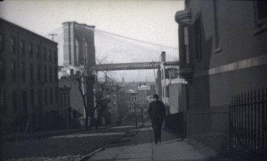 George Bradford Brainerd (American, 1845-1887). Street Scene Near Brooklyn Bridge, ca. 1872-1887. Glass plate negative, 2 1/8 x 3 1/4 in. (5.4 x 8.3 cm). Brooklyn Museum, Brooklyn Museum/Brooklyn Public Library, Brooklyn Collection, 1996.164.2-1778