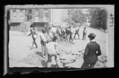 George Bradford Brainerd (American, 1845-1887). Repaving Clinton Street, Brooklyn, ca. 1872-1887. Collodion silver glass wet plate negative Brooklyn Museum, Brooklyn Museum/Brooklyn Public Library, Brooklyn Collection, 1996.164.2-1796