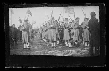 George Bradford Brainerd (American, 1845-1887). Sham Battle Soldiers in Plaza, Prospect Park, Brooklyn, ca. 1872-1887. Collodion silver glass wet plate negative Brooklyn Museum, Brooklyn Museum/Brooklyn Public Library, Brooklyn Collection, 1996.164.2-1806