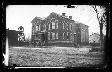 George Bradford Brainerd (American, 1845-1887). Public School #1, Flatbush, Brooklyn, ca. 1872-1887. Collodion silver glass wet plate negative Brooklyn Museum, Brooklyn Museum/Brooklyn Public Library, Brooklyn Collection, 1996.164.2-185