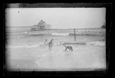 George Bradford Brainerd (American, 1845-1887). Little Wader and View of Iron Pier, Coney Island, Brooklyn, 1885. Dry negative plate Brooklyn Museum, Brooklyn Museum/Brooklyn Public Library, Brooklyn Collection, 1996.164.2-2119