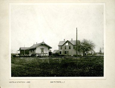 George Bradford Brainerd (American, 1845-1887). Hotel and Station, Smithtown, Long Island, ca. 1872-1887. Collodion silver glass wet plate negative Brooklyn Museum, Brooklyn Museum/Brooklyn Public Library, Brooklyn Collection, 1996.164.2-483