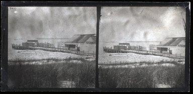 George Bradford Brainerd (American, 1845-1887). Steamboat Landing, Coney Island, 1870s. Collodion silver glass wet plate negative, 3 1/4 x 6 3/4 in. (8.3 x 17.1 cm). Brooklyn Museum, Brooklyn Museum/Brooklyn Public Library, Brooklyn Collection, 1996.164.2-701