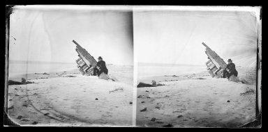 George Bradford Brainerd (American, 1845-1887). Wreck on Beach, Coney Island, Brooklyn, ca. 1872-1887. Collodion silver glass wet plate negative Brooklyn Museum, Brooklyn Museum/Brooklyn Public Library, Brooklyn Collection, 1996.164.2-706