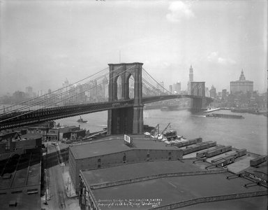 Irving Underhill (American, 1872-1960). Brooklyn Bridge & New York Skyline, 1925. Glass plate negative, 8 x 10 in. (20.3 x 25.4 cm). Brooklyn Museum, Brooklyn Museum/Brooklyn Public Library, Brooklyn Collection, 1996.164.8-B43802. © Estate of Irving Underhill