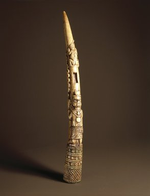 Edo. Side-Blown Horn with Figurative Base (Oko), 18th or 19th century. Ivory, copper, 15 x 3 1/2 x 7 in. (38.1 x 8.9 x 17.8 cm). Brooklyn Museum, Gift of Beatrice Riese, 1996.171a-b. Creative Commons-BY