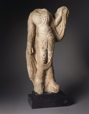 Torso of a Bodhisattva, 7th-8th century. Limestone, traces of polychrome, 13 x 22 x 6 x 23 1/2 in., 36.5 lb. (33 x 55.9 x 15.2 x 59.7 cm, 16.56kg). Brooklyn Museum, Gift of Mr. and Mrs. Robert L. Poster, 1996.217. Creative Commons-BY