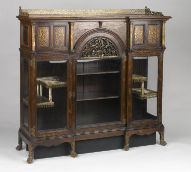 Herts Brothers. Cabinet, ca. 1885. Faux-grained Rosewood, other woods, glass, alabaster, brass, mother-of-pearl, other metals, original velvet textile and trim on interior, Other: 54 3/4 x 58 7/8 x 17 1/4 in. (139.1 x 149.5 x 43.8 cm). Brooklyn Museum, Gift of David Whitcomb, 1996.218. Creative Commons-BY