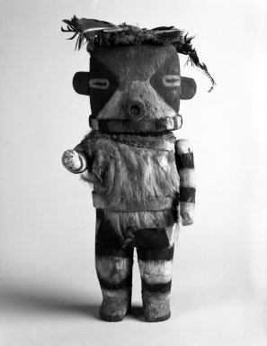 Possibly She-we-na (Zuni Pueblo) (Native American). Kachina Doll, late 19th century. Wood, fur, feathers, pigment, 10 x 4 7/8 x 3 in. Brooklyn Museum, Anonymous gift, 1996.22.4. Creative Commons-BY
