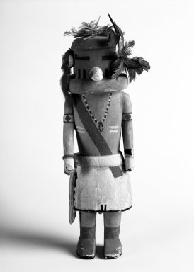 Hopi Pueblo (Native American). Kachina Doll, 20th century. Wood, pigment, feathers, hair, dye, 10 x 3 1/4 x 2 7/8in. (25.4 x 8.3 x 7.3cm). Brooklyn Museum, Anonymous gift, 1996.22.7. Creative Commons-BY