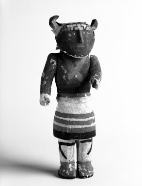 Pueblo (unidentified) (Native American). Kachina Doll, early 20th century. Wood, pigment, hide, 9 3/4 x 3 3/4 x 3 in.  (24.8 x 9.5 x 7.6 cm). Brooklyn Museum, Anonymous gift, 1996.22.9. Creative Commons-BY