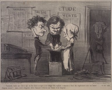 Honoré Daumier (French, 1808-1879). Look at that, there are my scribes experimenting with my maid...(Comment, voilà mes clercs qui au lieu d'être occupés à me rédiger des exploits s'amusent à faire des expériences avec ma bonne.....), May 21, 1853. Lithograph on newsprint, Image: 7 11/16 x 10 1/2 in. (19.5 x 26.7 cm). Brooklyn Museum, Gift of Shelley and David Garfinkel, 1996.225.10