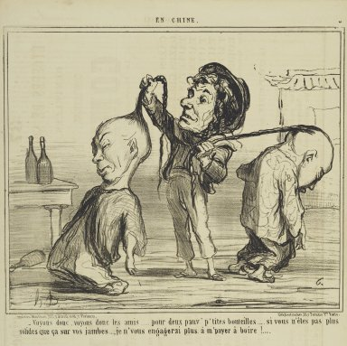 "Honoré Daumier (French, 1808-1879). ""Voyons donc, voyons donc les amis...,"" January 24, 1859. Lithograph on newsprint, Sheet: 17 1/16 x 11 5/8 in. (43.3 x 29.5 cm). Brooklyn Museum, Gift of Shelley and David Garfinkel, 1996.225.100"