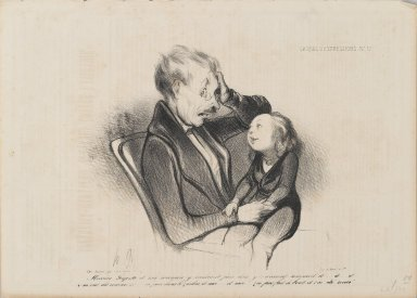 Honoré Daumier (French, 1808-1879). Mossieu Guguste and Mam Wanted to Go to Bed and Were Sleepy and...(Mossieu Guguste et ma maman y voulaient faire dodo, y-z-avaient sommeil et...), July 1, 1838. Lithograph on newsprint, Sheet: 9 7/8 x 13 13/16 in. (25.1 x 35.1 cm). Brooklyn Museum, Gift of Shelley and David Garfinkel, 1996.225.104