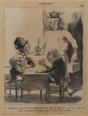"Honoré Daumier (French, 1808-1879). Le commerce. __""Quand donc...,"" December 2, 1851. Lithograph on newsprint mounted on thick paper, Sheet: 11 13/16 x 9 in. (30 x 22.9 cm). Brooklyn Museum, Gift of Shelley and David Garfinkel, 1996.225.105"