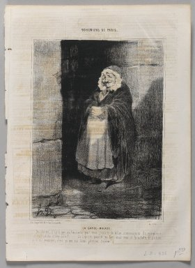 Honoré Daumier (French, 1808-1879). La Garde - Malade. Lithograph on newsprint, Sheet: 13 3/4 x 10 1/16 in. (35 x 25.6 cm). Brooklyn Museum, Gift of Shelley and David Garfinkel, 1996.225.108