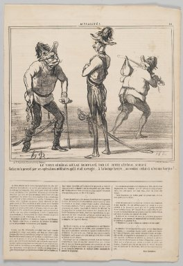 Honoré Daumier (French, 1808-1879). Le Vieux Général Giulay Remplacé par le Jeune Général Schlick, 1859. Lithograph on newsprint, Sheet: 17 x 11 5/8 in. (43.2 x 29.6 cm). Brooklyn Museum, Gift of Shelley and David Garfinkel, 1996.225.115