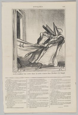 Honoré Daumier (French, 1808-1879). Le Manteau Leur Reste dans la Main..., October 14, 1869. Lithograph on newsprint, Sheet: 16 7/8 x 11 1/4 in. (42.9 x 28.6 cm). Brooklyn Museum, Gift of Shelley and David Garfinkel, 1996.225.116