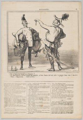 "Honoré Daumier (French, 1808-1879). ""Tu ne lui as rien laissé, à ce fermier?...,"" June 25, 1859. Lithograph on newsprint, Sheet: 17 x 11 3/4 in. (43.2 x 29.9 cm). Brooklyn Museum, Gift of Shelley and David Garfinkel, 1996.225.117"