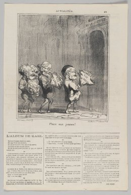 Honoré Daumier (French, 1808-1879). Place aux Jeunes!, February 9, 1870. Lithograph on newsprint, Sheet: 16 13/16 x 11 1/4 in. (42.7 x 28.6 cm). Brooklyn Museum, Gift of Shelley and David Garfinkel, 1996.225.118