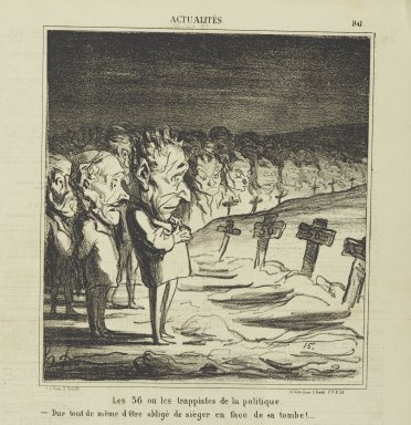Honoré Daumier (French, 1808-1879). Les 56 ou les Trappistes de la Politique..., April 8, 1870. Lithograph on newsprint, Sheet: 16 7/8 x 11 7/8 in. (42.9 x 30.2 cm). Brooklyn Museum, Gift of Shelley and David Garfinkel, 1996.225.123
