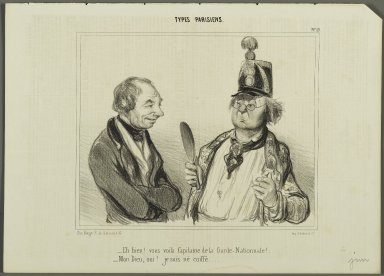 "Honoré Daumier (French, 1808-1879). ""Eh bien!  vous voilà Capitaine de la Garde-Nationale!...,"" June 9, 1841. Lithograph on newsprint, Sheet: 9 13/16 x 13 3/4 in. (25 x 35 cm). Brooklyn Museum, Gift of Shelley and David Garfinkel, 1996.225.126"