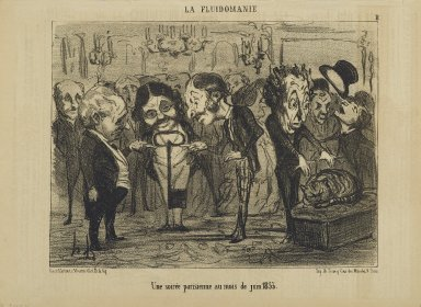 Honoré Daumier (French, 1808-1879). Une Soirée Parisienne au Mois de Juin 1853, June 7, 1853. Lithograph on newsprint, Sheet: 9 3/4 x 14 1/16 in. (24.8 x 35.7 cm). Brooklyn Museum, Gift of Shelley and David Garfinkel, 1996.225.127