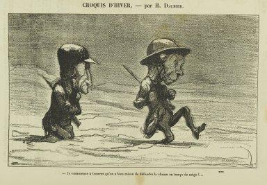 Honoré Daumier (French, 1808-1879). Je Commence à Trouver Qu'on a Bien Raison de Défendre la Chasse en Temps de Neige!.... Gillotage, 11 3/4 x 9 3/8 in. (29.8 x 21.3 cm). Brooklyn Museum, Gift of Shelley and David Garfinkel, 1996.225.154