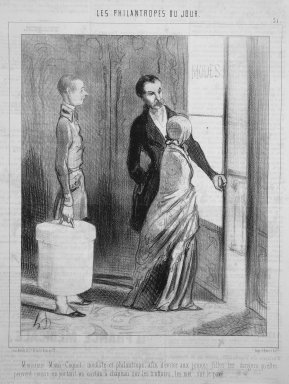 Honoré Daumier (French, 1808-1879). Monsieur Mimi Coquet, Milliner and Philanthropist...(Monsieur Mimi Coquet, modiste et philantrope...), March 28, 1845. Lithograph on newsprint, Sheet: 13 7/8 x 10 in. (35.2 x 25.4 cm). Brooklyn Museum, Gift of Shelley and David Garfinkel, 1996.225.21
